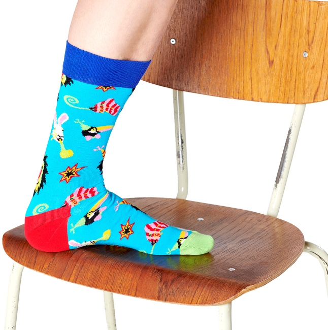 Blauwe HAPPY SOCKS Sokken PARTY ANIMAL  - large