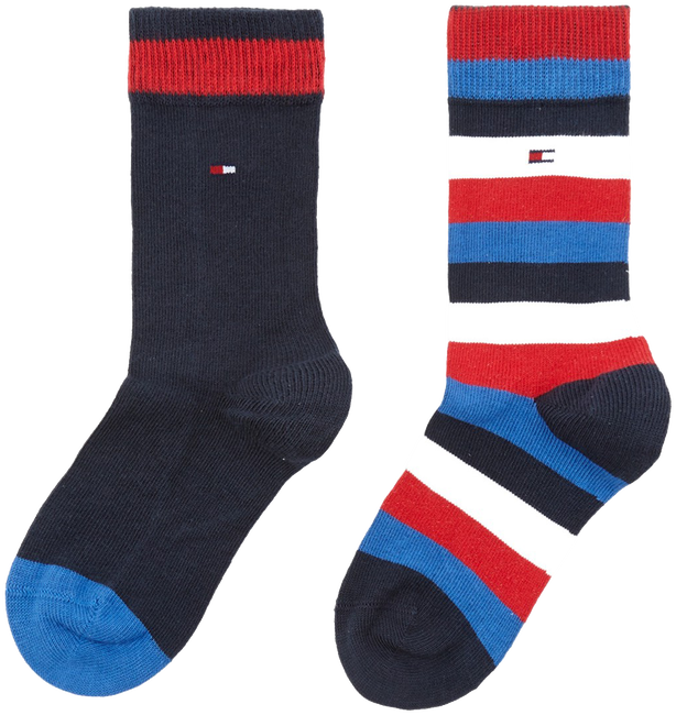 Blauwe TOMMY HILFIGER Sokken TH KIDS BASIC STRIPE SOCK 2P - large