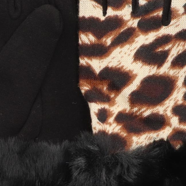 Yehwang Gants LEOPARD & FUR en noir  - large