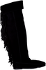Black MINNETONKA shoe OVER KNEE FRINGE BOOT  - small
