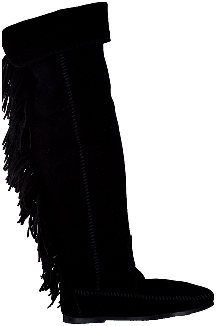 Black MINNETONKA shoe OVER KNEE FRINGE BOOT  - large