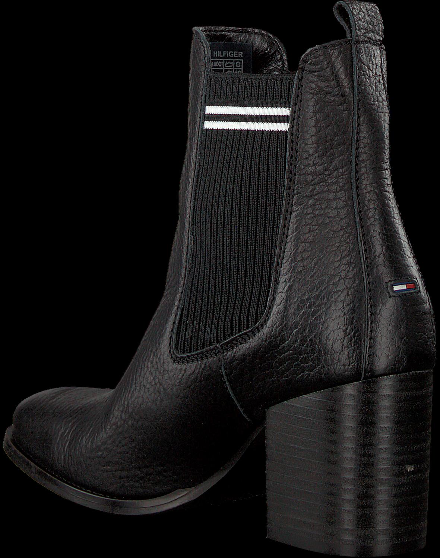 zwarte tommy hilfiger chelsea boots sock mid heel chelsea. Black Bedroom Furniture Sets. Home Design Ideas