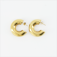 Gouden NOTRE-V Oorbellen OORBEL RING  - medium