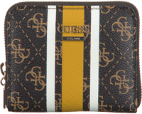 GUESS Porte-monnaie JENSEN SLG SMALL ZIP AROUND en marron  - medium