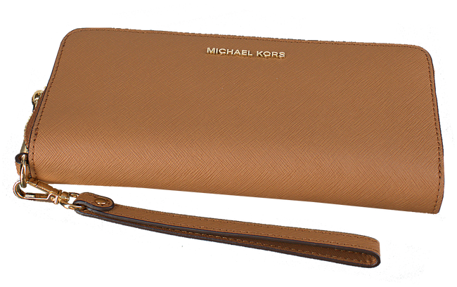 MICHAEL KORS Porte-monnaie TRAVEL CONTINENTAL en cognac - large