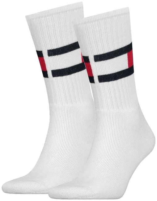 TOMMY HILFIGER Chaussettes TH FLAG en blanc - large