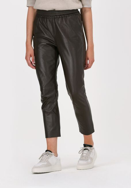 CO'COUTURE Pantalon SHILOH CROP LEATHER PANT en marron  - large