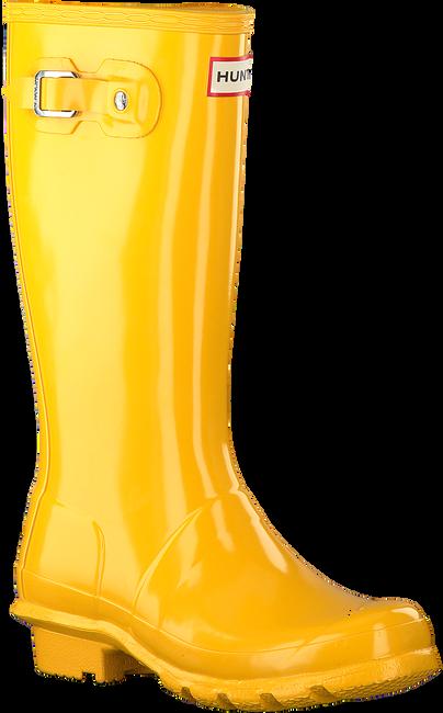 HUNTER Bottes en caoutchouc ORIGINAL KIDS GLOSS en jaune - large