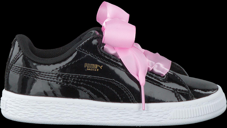 7a4e17a23ed Zwarte PUMA Sneakers BASKET HEART PATENT KIDS - Omoda.be